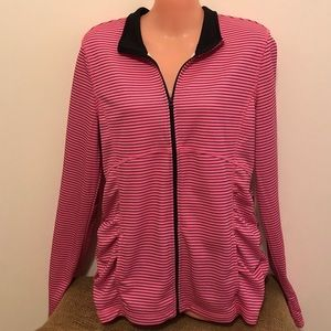 Be Inspired Black & Pink Striped Zip front Jacket